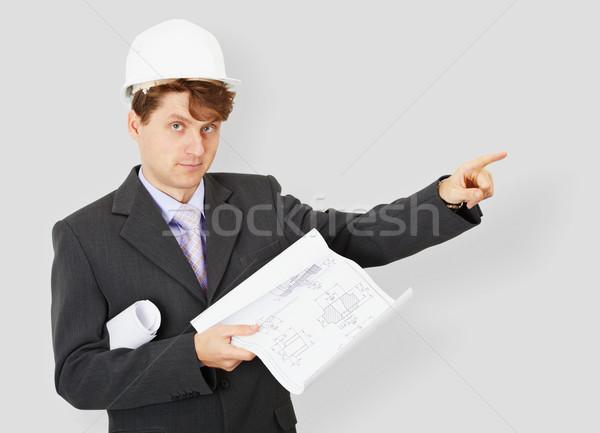 Jonge ingenieur gebouw specialist helm tekening Stockfoto © pzaxe
