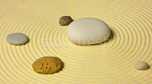 Scheme of solar system from stones on sand Stock photo © pzaxe