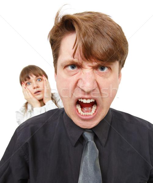 Férfi mérges dühös nő horror izolált Stock fotó © pzaxe