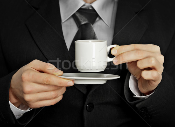 Pause in the work - cup of strong black coffee Stock photo © pzaxe