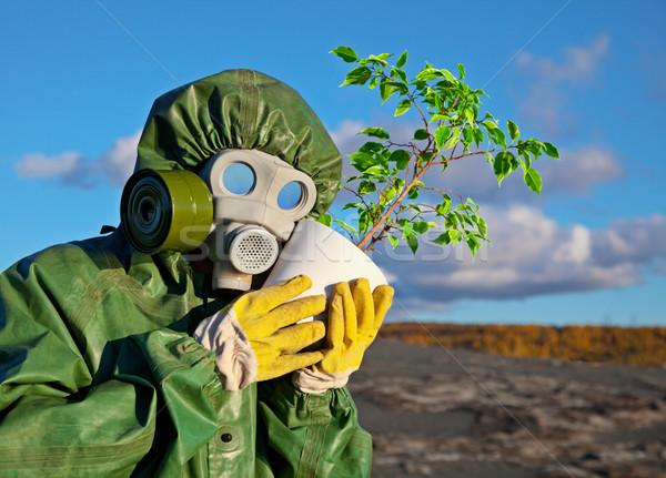 завода дерево облака лице человека Сток-фото © pzaxe