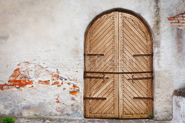 Wooden door in an old style. Courtyard of old castle Stock photo © pzaxe