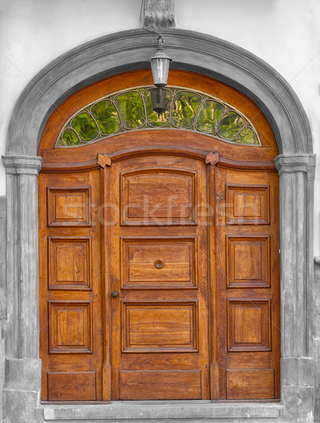 Asolid wooden hand carved timber door Stock photo © pzaxe