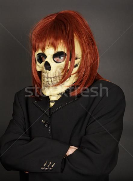 Vicces férfi öltöny halál koponya piros Stock fotó © pzaxe
