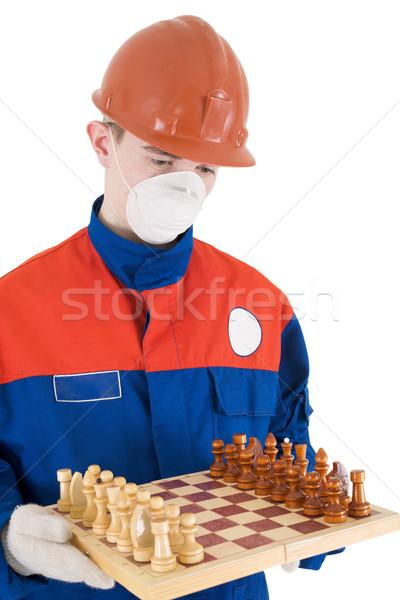Segédmunkás sakk sisak férfi kék piros Stock fotó © pzaxe