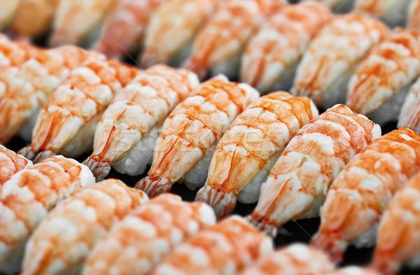 Japonês cozinha camarão sushi bandeja comida Foto stock © pzaxe