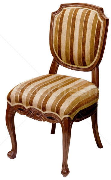 Old striped wooden chair isolated on white Stock photo © pzaxe