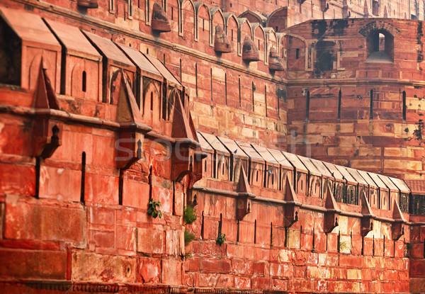 古い インド 赤 砦 建設 壁 ストックフォト © pzaxe