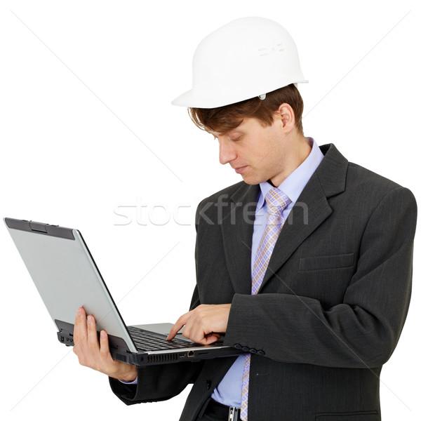 Stock fotó: építész · laptop · tart · kezek · fehér · számítógép