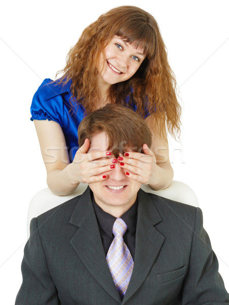 Playful woman covered eyes of man Stock photo © pzaxe