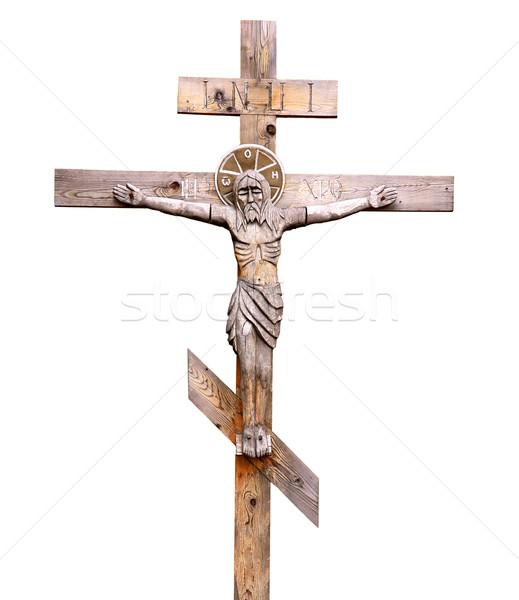 Crocifisso legno ortodossa bianco mano sfondo Foto d'archivio © pzaxe