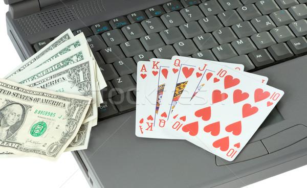 Laptop speelkaarten dollar witte achtergrond brief Stockfoto © pzaxe