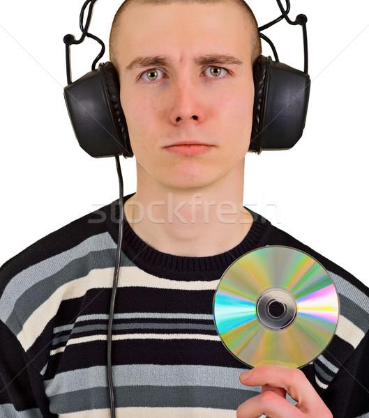 Smutne rozczarowany człowiek duży słuchawki płyta cd Zdjęcia stock © pzaxe