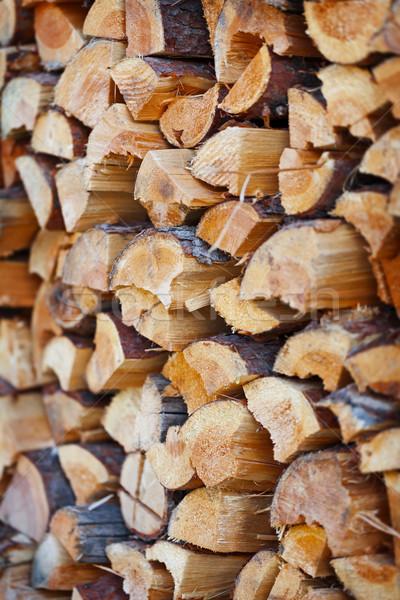Stock fotó: Tűzifa · boglya · előkészített · tél · fa · ipar