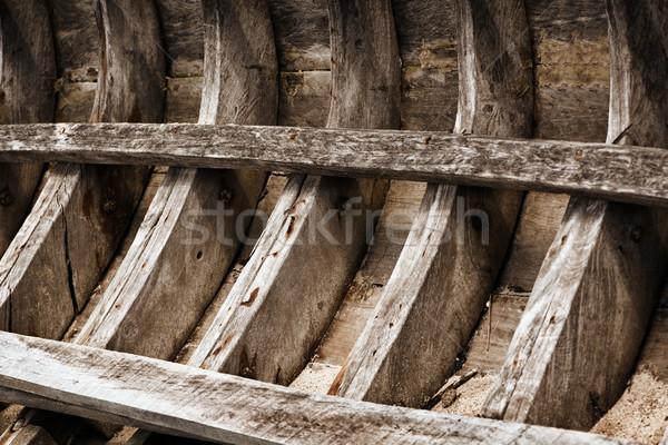 Skelet oude houten vissersboot Thailand achtergrond Stockfoto © pzaxe