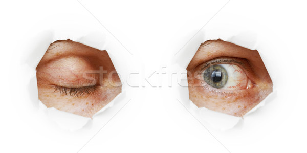 Eye in hole - closed and open variants Stock photo © pzaxe