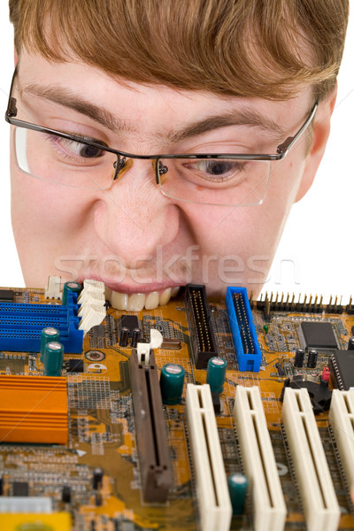Tipo edad circuito ordenador hombre estudiante Foto stock © pzaxe