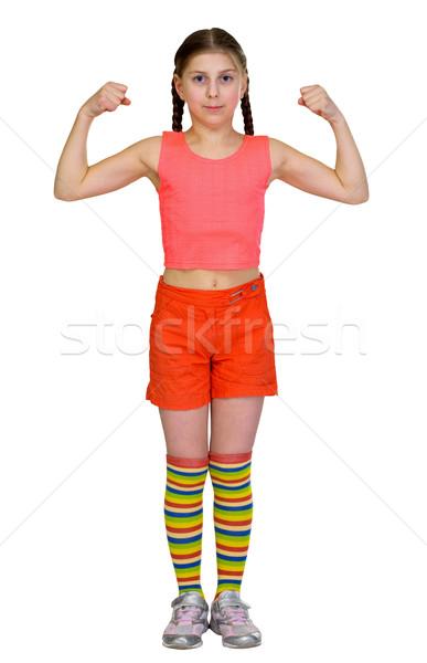 Stock photo: Girl - the sportswoman on a white