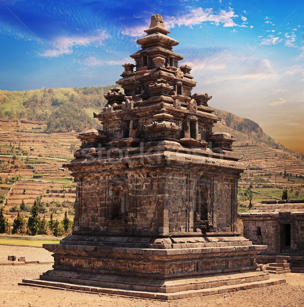 Hindu temple candi Arjuna, Dieng Plateau, Java, Indonesia Stock photo © pzaxe