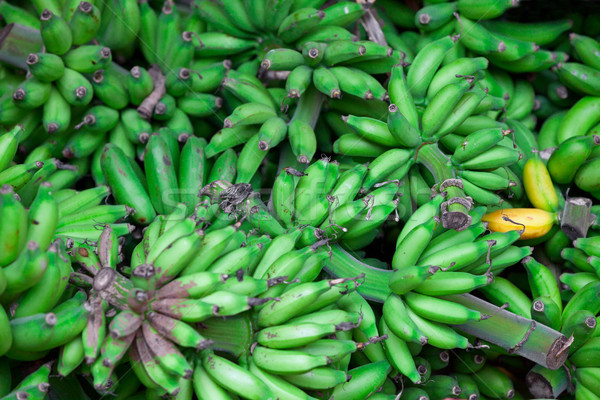 Bunches of green bananas in east market Stock photo © pzaxe