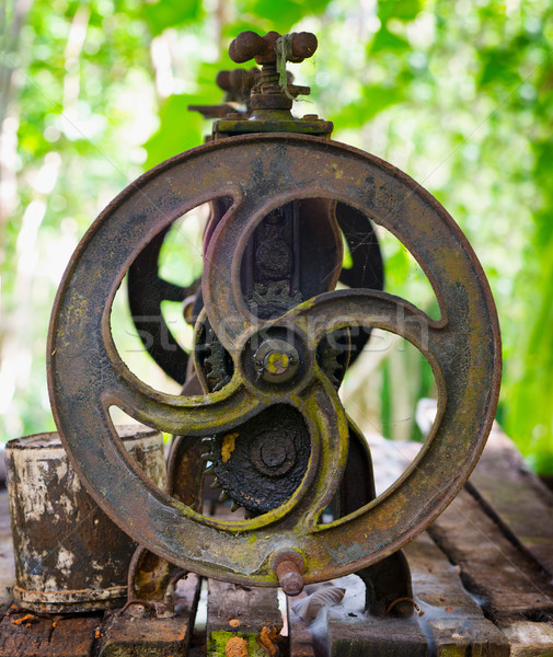 Old cast iron machine for squeezing the latex Stock photo © pzaxe