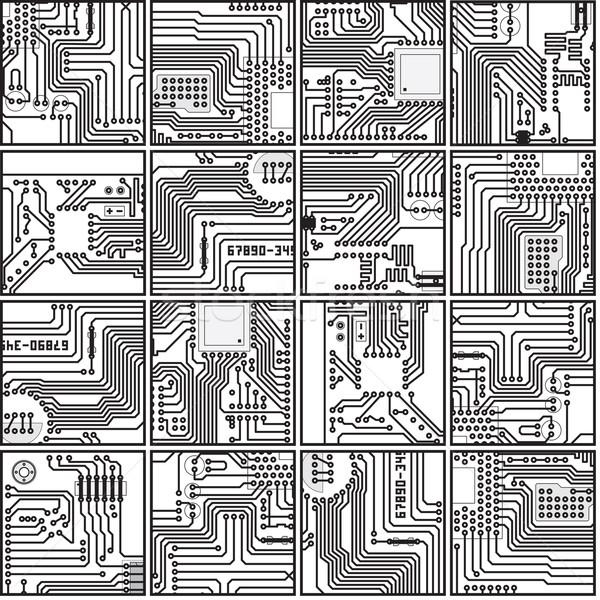 Abstract computer electronics circuit board pattern - vector sea Stock photo © pzaxe