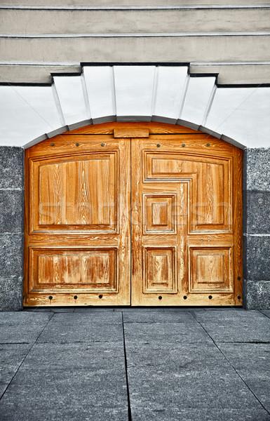 Large old wooden door Stock photo © pzaxe