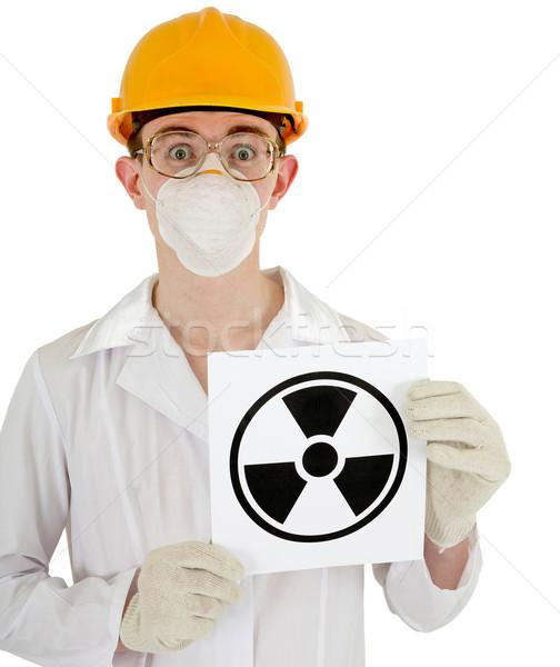 Cientista químico assinar radiação mãos homem Foto stock © pzaxe