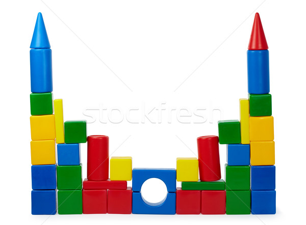 Rickety castle of color cubes Stock photo © pzaxe