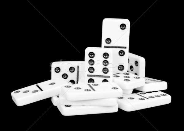 Small group of bones dominoes on a black Stock photo © pzaxe