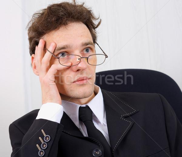 Férfi üzletember problémák tanácstalan fiatalember pontok Stock fotó © pzaxe