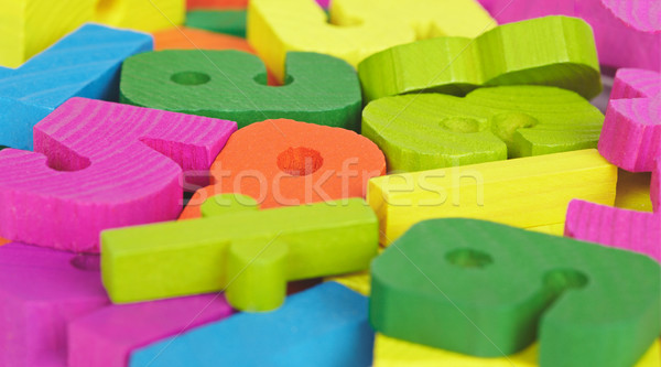 Colored wooden letters and numbers Stock photo © pzaxe