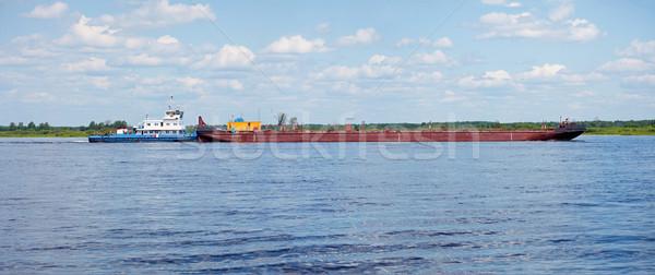 Stockfoto: Vracht · landschap · schip · skyline · meer · golf