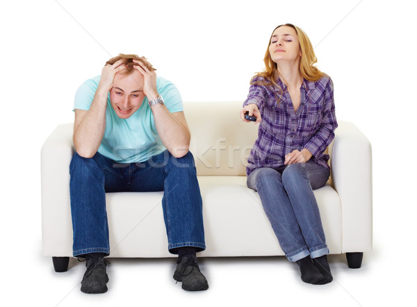 Nervioso marido esposa sesión sofá viendo Foto stock © pzaxe