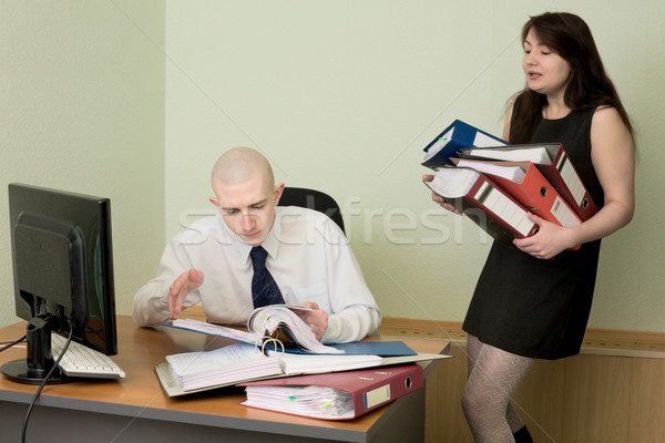 Bookkeeper and the secretary on a workplace Stock photo © pzaxe