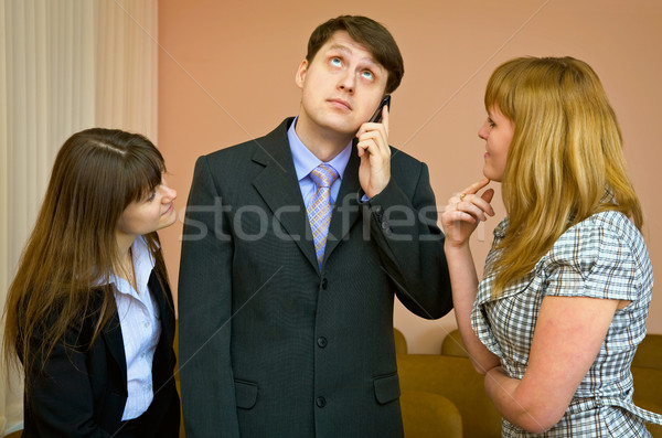 Man speaks by a mobile phone Stock photo © pzaxe