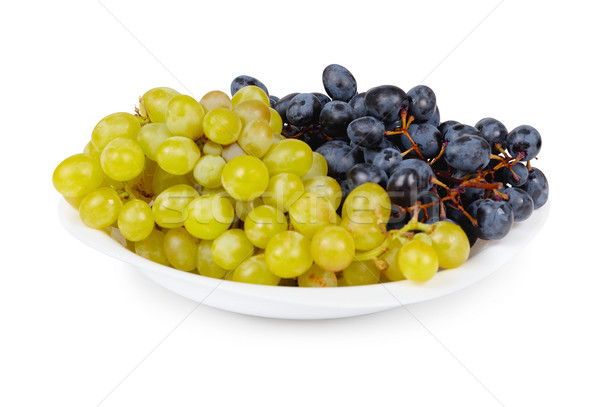Grapes are two different varieties in plate Stock photo © pzaxe