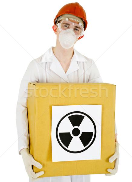 Cientista radioativo caixa isolado branco fundo Foto stock © pzaxe