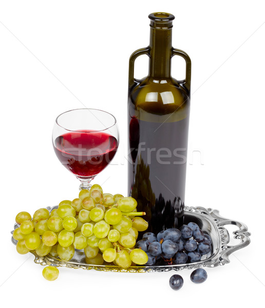 Bottle of red wine, glass and grapes - still life Stock photo © pzaxe