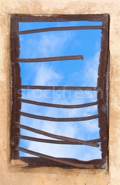 Old window closed by rusty lattice Stock photo © pzaxe