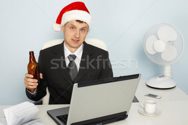 Businessman meets new year still working Stock photo © pzaxe