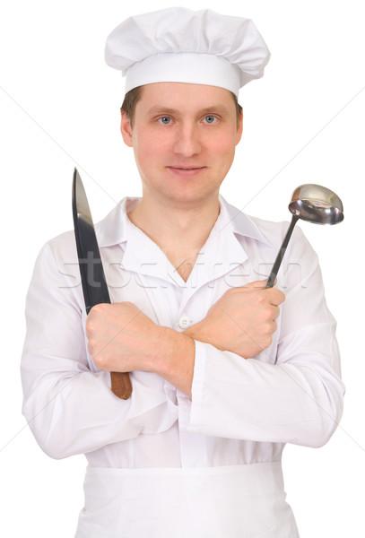 Szakács kés merőkanál fehér átfogó konyha Stock fotó © pzaxe