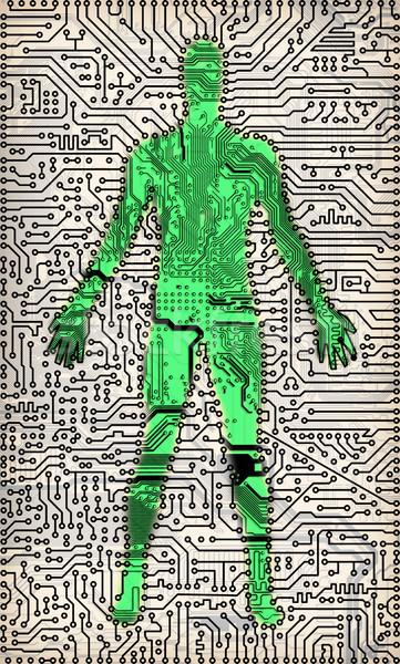 Sziluett férfi elektronikus alkotóelemek textúra fekete Stock fotó © pzaxe