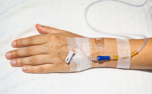 Medical intravenous cannula on hand Stock photo © pzaxe