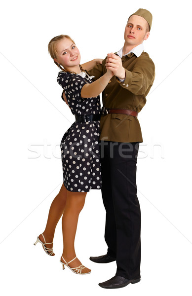 Pair in old-fashioned clothes dancing isolated on white Stock photo © pzaxe