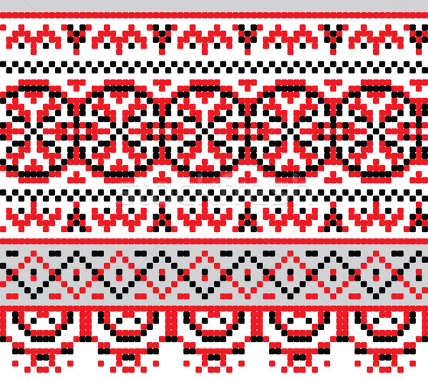 Ukrainian national pattern cross stitch background Stock photo © pzaxe
