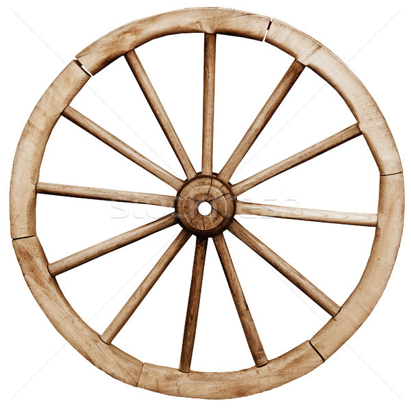 Big vintage rustic wagon wheel Stock photo © pzaxe