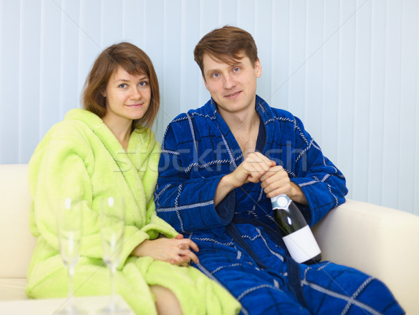 Young happy couple drinks sparkling wine Stock photo © pzaxe