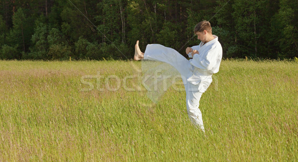 Man in kimono fulfills blows by feet in field Stock photo © pzaxe