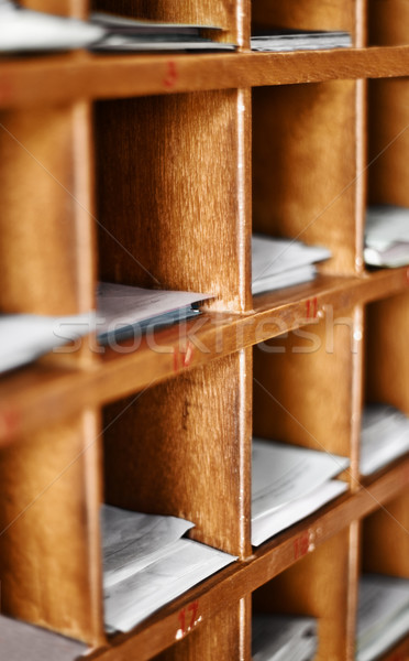 Wood cells with paper for buddhist divination Stock photo © pzaxe